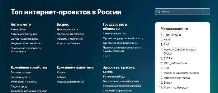 Яндекс запустил рейтинг интернет-проектов